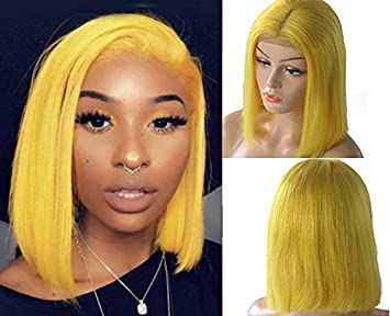 Yellow Lace Bob Wigs Human Hair Lace Front
