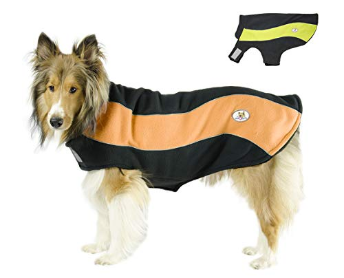 cuteNfuzzy Reflecting Double Layer Fleece Adventure Dog Coat, Orange, Medium