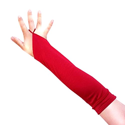 [SACAS Elbow Length Fingerless Satin Gloves in Red one size] (The Red Shoes Halloween Costume)