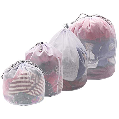 Vivifying Drawstring Wash Bags, Set of 4 Fine Mesh Laundry Bags with Drawstring Closure for Clothes, Delicates