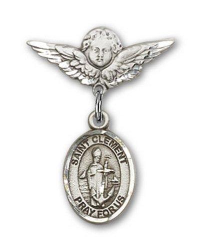 Icecarats Créatrice De Bijoux En Argent Sterling St. Broches Badge Clement Charme D'Ange 7/8 X 3/4