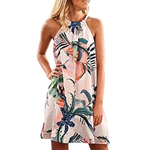Asvivid Womens Casual Halter Sleeveless Boho Floral Print Loose Ladies Shift Beach Mini Short Dress S Flower4