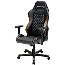 DXRacer Drifting Series OH/DF73/NC Racing Seat Office Chair Gaming Ergonomic adjustable Computer Chair with - Included Head and Lumbar Support Pillows (Black, Brown)