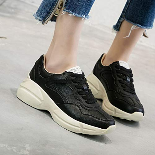 Black Comfort up Mesh Sneaker Athletic Slip Casual Platform Lace Womens Running On GIY Breathable Shoes Sport IvxnZqgz