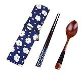 Staron 2019 Newest Japanese Wooden Chopsticks Spoon Tableware 2pcs Set New Gift - Reusable Chopsticks Spoon Tableware Gift Set (Blue)