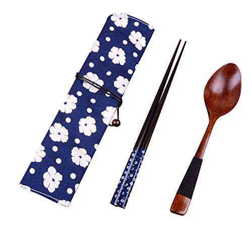 JPJ(TM) 2pcs Set Creative Japanese Vintage Wooden Chopsticks Spoon Tableware New Gift (Blue)