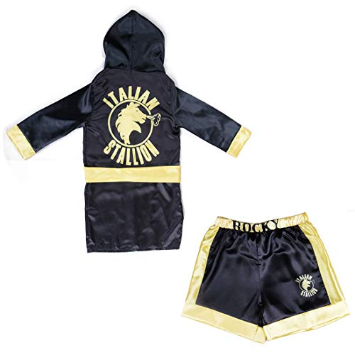 Boys Boxing Champion Costume Hooded Boxing Robe Set Kids Halloween Fancy Dress (Black Robe + Shorts, L) -