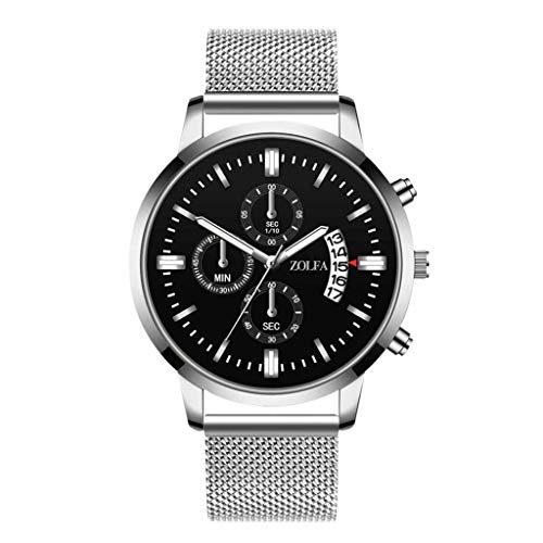 Mens Simple Watch Analog Quartz Stainless Steel Mesh Band Dial Casual Wrist Watches for Men (A -2)