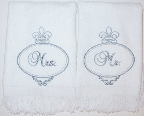 MR & MRS TOWEL SET (SILVER) EMBROIDERY ~ WEDDING GIFT