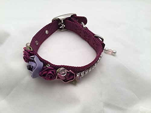 Wine Colored Dog Collar with silk rosettes,beads and swarovski crystals embellishments for special occasions, weddings, birthdays, holidays, shopping, photos (Wine Rosette)