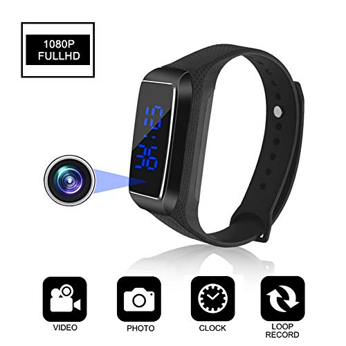 Aipinvip Hidden Camera HD 1080P Camera Recording Loop Recording time Display Sports Bracelet Shielded Surveillance DVR Wristband Camera (Not Included TF Card) ()