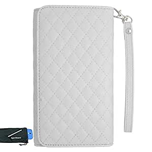 for Microsoft Lumia 950 White Quilted Faux Leather Pouch Case Cover Stylus Pen ApexGears (TM) Phone Bag