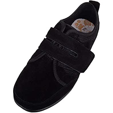 Absolute Footwear Womens Casual Leather EEE Wide Fitting Trainer/Pumps/Shoes - Black - US 6