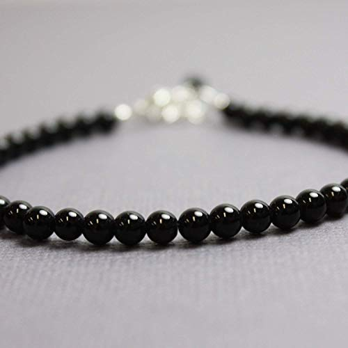 (Black Onyx Bracelet, Small 4mm Beads, Adjustable 7 to 8 Inches)