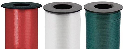 Holiday 3-Pack Bundle of Berwick Splendorette Crimped Curling Ribbon - Lava Red, Hunter Green & White - 500 yards each