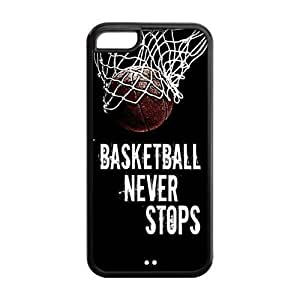 LJF phone case LeonardCustom Protective Hard Snap On TPU Rubber Phone Case for iPhone 5C , Basketball Never Stops