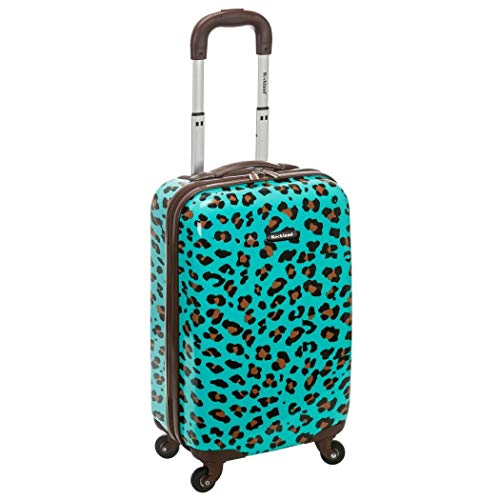 Girls Blue Leopard Print Hardtop Luggage Cheetah Animal Themed Upright Carry On