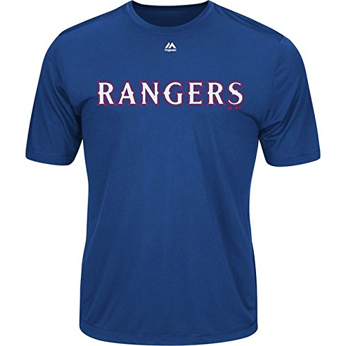 Texas Rangers Youth Large Wicking MLB Licensed Authentic Replica Crewneck T-Shirt Royal Blue