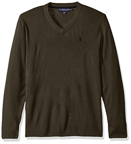 U.S. Polo Assn. Men's Solid V-Neck Sweater, Midnight Heather, Small ()