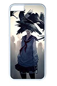 Anime Girl With Raven Slim Soft Cover for iPhone 6 Plus Case ( 5.5 inch ) PC White Cases by Maris's Diary