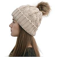 Alovemo Warm Fleece Lined Knitted Soft Ski Cuff Women's Winter Beanie Hat