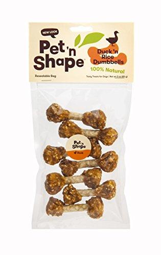 Pet 'n Shape Duck 'N Rice Dumbbells - All Natural Dog Treats, Duck, 3 Oz