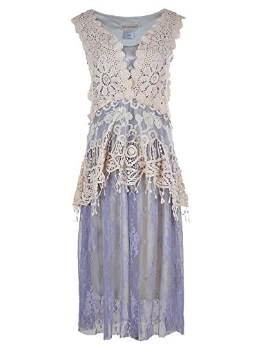 [Anna-Kaci Womens Vintage Floral Embroidery Detail Lace Ruffle Gatsby 1920s Dress] (1920s Dresses Cheap)