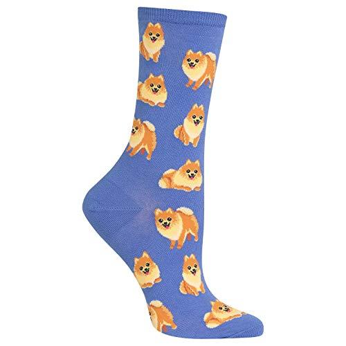 Hot Sox Pomeranian Crew Socks, 1 Pair, Periwinkle, Women's 4-10 Shoe