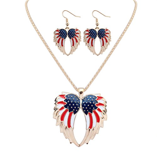 YJEdward United States Jewelry Set Necklace Earrings Party Present 18K Gold Plated 2 Pcs -