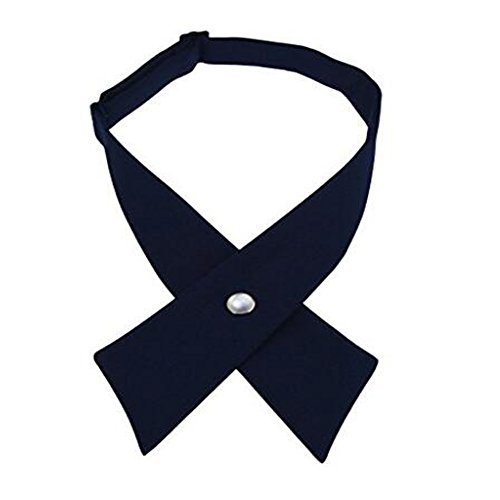 Tie for Men Women Adjustable Criss-Cross Bowtie School Uniform Pre Tied Bows for Girls Neck Tie Accessories Bowtie03 (Navy)
