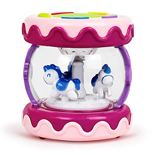 Bambiya Merry Go Round Toddler Music Baby Drum - Educational Toddler Learning Toys Device Can Be Used as a Drum, Plays Baby Music and Kids Songs - for Kids 18-Months and Older