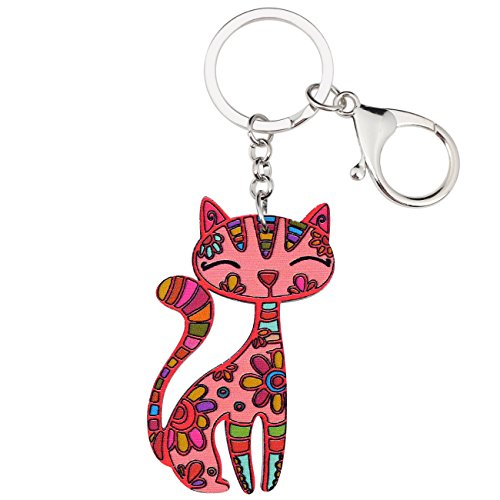 BONSNY Acrylic Cat Key Chains For Women Car Purse Bag Rings Pendant Girl Gift Charms (Red)