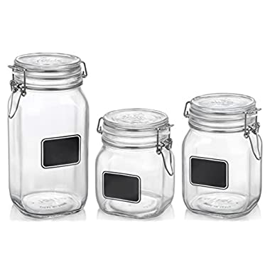 Bormioli Rocco Glass Co Fido Square Label Set, 17.5 oz/33.75 oz/50.75 oz, Chalk