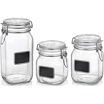 Bormioli Rocco Fido Chalkboard Label Jar, Set of 3, (17.5 oz.,33.75 oz.,50.75 oz.)