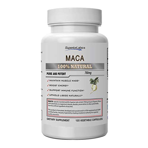 Superior Labs Organic Peruvian Maca 100% Pure NonGMO – Stress Relief and Anxiety Supplement – Zero Synthetic Additives, Stearates, Dioxides – 750mg, 120 Vegetable Capsules