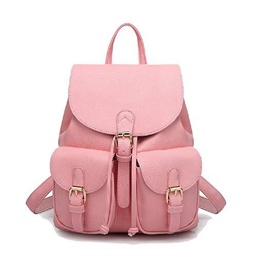 Poche Unie Couleur PU Scolaire Backpack Décoration De À Voyages Loisir Multi Cuir Femme Rose Sac Opdamyi Fonction qtTxBYx