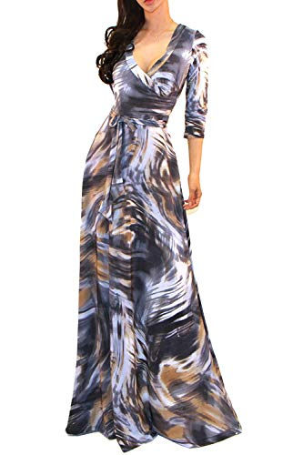 3/4 Sleeve Faux Wrap - Vivicastle Women's USA V-Neck 3/4 Sleeve Faux Wrap Waist Tie Printed Long Maxi Dress (ND17, Multi, Large)
