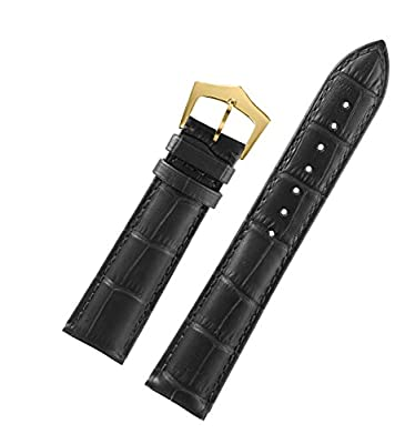 Supper Narrow Wrist Watch Bands Leather in Black Tone-on-tone Stitch Genuine Italian Calfskin with Gold Pin Buckle