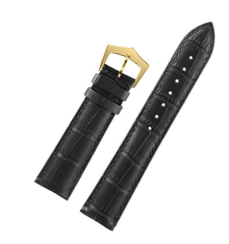 (15mm Ingenious Deluxe Women's Black Leather Belt for Watches Alligator Grain Italian First Layer Cowhide Gold Pin Clasp)