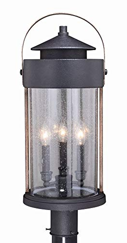 - Vaxcel T0449 Cumberland - Three Light Outdoor Post Mount, Textured Dark Bronze/Burnished Oak Finish with Clear Seeded Glass