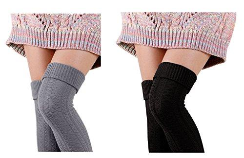 V28Women Girls Winter Over Knee Leg Warmer Soft Knit Crochet Sock Leggings (one size, Black+Grey)