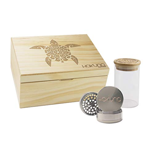 - Hakuna Supply Natural Engraved Stash Box Combo- 1/8th Glass Jar w/Freshness Sealed Engraved Bamboo Lid + 4 Pc. Gunmetal Hakuna Sharp Shredder (Sea Turtle, Natural Pine)
