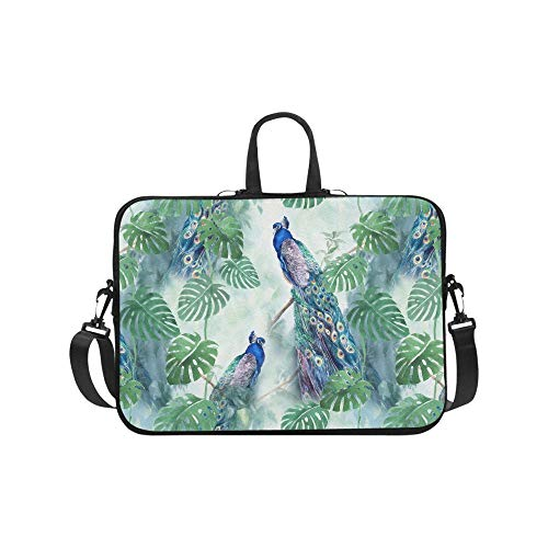 Peacock with Palm Tree Leaves Painting 17 17.3 Inch Waterproof Neoprene Laptop Sleeve Notebook Computer Case Shoulder Bag with Handle & Strap for MacBook Dell HP Woman Man