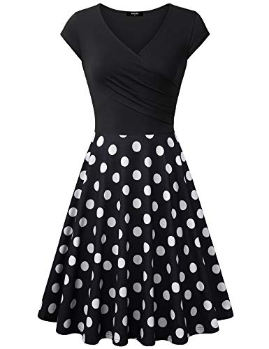 Lotusmile Elegant Dresses, Womens Casual Dress A Line Cap Sleeve V Neck Black White, Medium