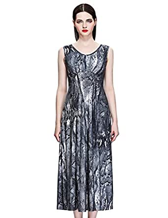 Maxchic Women's Empire Waist Sleeveless Stretch Floral Print Maxi Dress C42243S11M,17324-Gray,Large