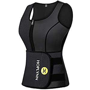 d74b7e9f2e HOPLYNN Neoprene Sauna Sweat Waist Trainer Vest for Weight Loss with Zipper  for Women