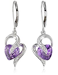 10k White Gold Gemstone and Diamond Accent Heart Drop Earrings