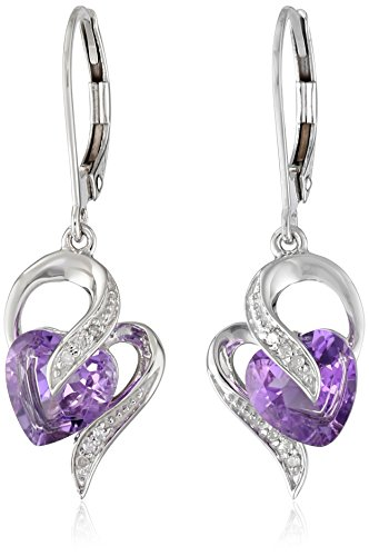 - 10k White Gold Amethyst and Diamond Accent Heart Drop Earrings