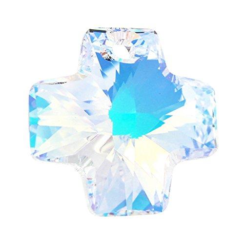1 pc Swarovski Crystal 6866 Cross Charm Pendant Clear AB 20mm / Findings / Crystallized (Clear Austrian Crystal Cross)