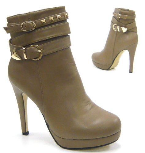 Nieten Damen Schuhe Stiletto Stiefelette Boots Stiefel Beige